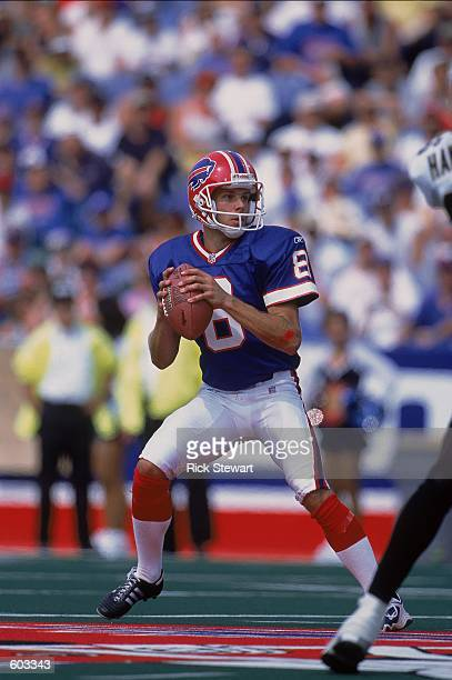 Quarterback Brian Morrman of the Buffalo Bills looking to throw the ball down the field during the game against the New Orleans Saints at the Ralph...