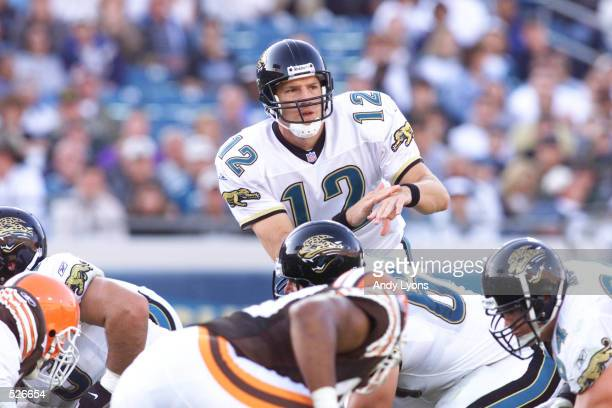 Quarterback Jonathin Quinn of the Jacksonville Jaguars signals his offense as they prepare to run a play versus the Cleveland Browns in their game at...