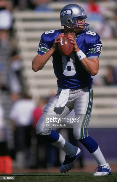 Quarterback Matt Hasselbeck of the Seattle Seahawks looks to pass the ball during the game against the Philadelphia Eagles at the Husky Stadium in...