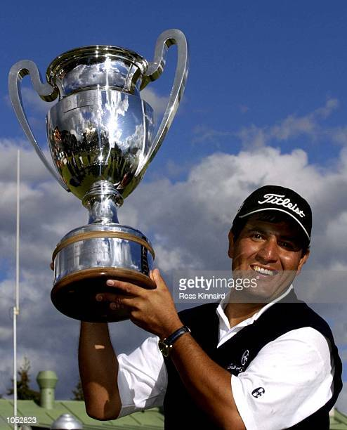 Ricardo Gonzalez of Argentina with the Omega Masters trophy after winning the Omega European Matsers at the Golf Club Crans-sur-Sierre, Crans...