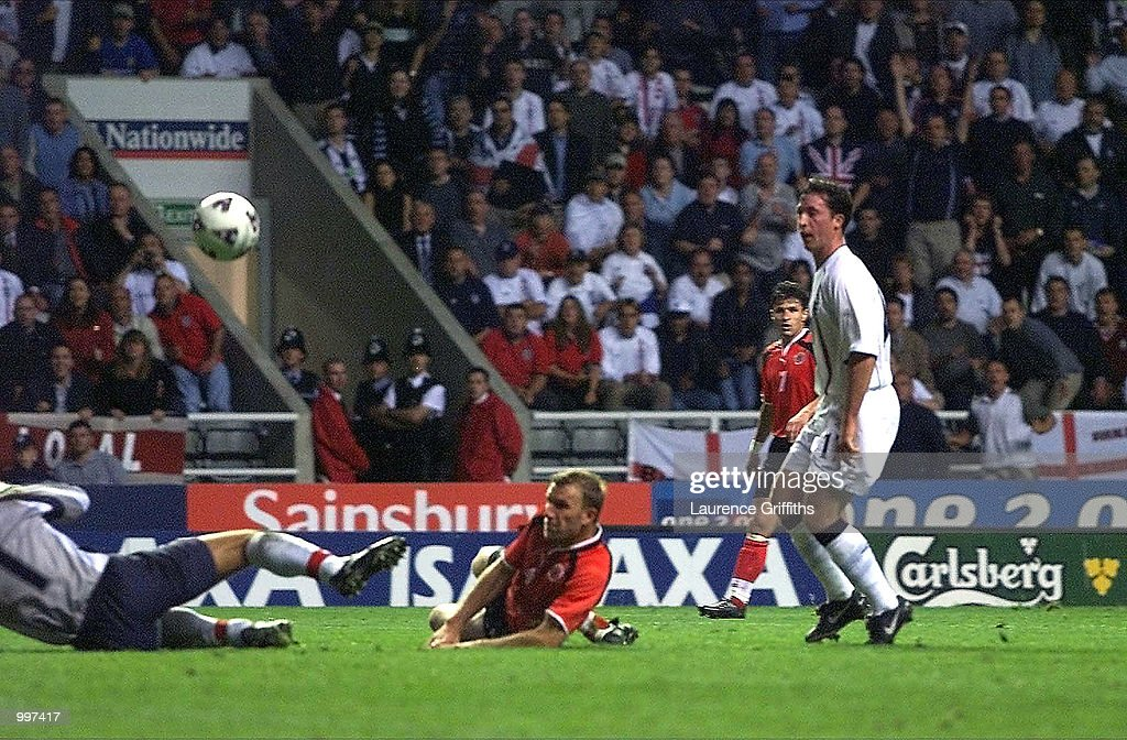 Robbie Fowler of England scores the second goal during the England v Albania World Cup 2002 Qualifying match at St James's Park, Newcastle. DIGITAL IMAGE Mandatory Credit: Laurence Griffiths/ALLSPORT