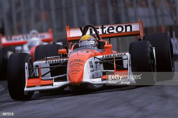 Roberto Moreno of Brazil who drives the Toyota Reynard for Patrick Racing driving on the track during the Molson Indy part of the CART FedEx...