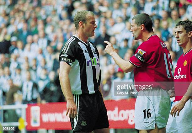 Roy Keane of Man Utd argues with Newcastle captain Alan Shearer during the FA Barclaycard Premiership match between Newcastle United and Manchester...