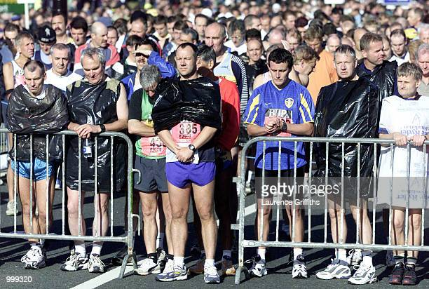 Runners during a minutes silence in respect of the America crisis at the start line during the BUPA Great North Run in Newcastle DIGITAL IMAGE...