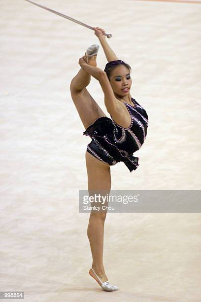 Sarina Sundra Rajah of Malaysia in action during the Rope discipline of the Rhythmic Gymnastic Team's Competition held at the Putra Stadium Bukit...