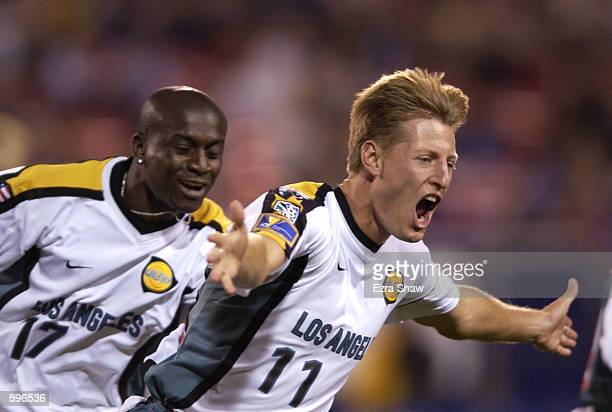 Sasha Victorine and Ezra Hendrickson of the Los Angeles Galaxy celebrate after Victorine scored a goal in the first half against the New York/New...
