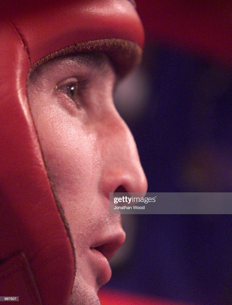 Sergei Kazakov of Russia pauses during his bout against Yuriolkis Gamboa of Cuba in the 48 kg division, held at the South Bank Convention Centre, Brisbane, Australia. DIGITAL IMAGE. Mandatory Credit: Jonathan Wood/ALLSPORT