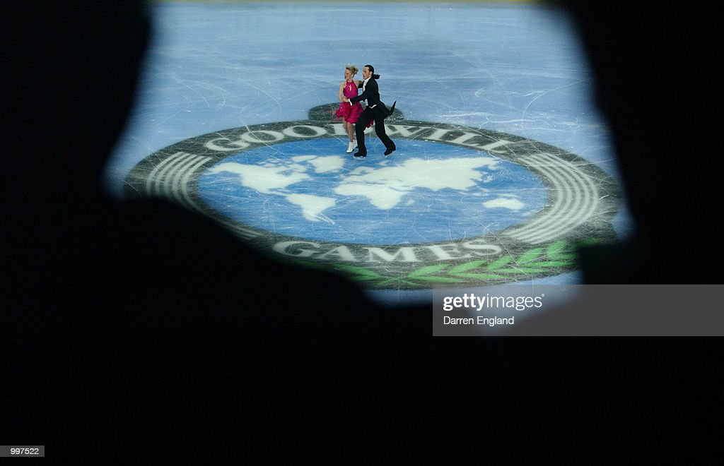 Sergei Sakhnovsky and Galit Chait of Israel in action at the Figure Skating competition during the Ice Dancing Program held at the Brisbane Entertainment Centre during the Goodwill Games in Brisbane, Australia. DIGITAL IMAGE. Mandatory Credit: Darren England/ALLSPORT