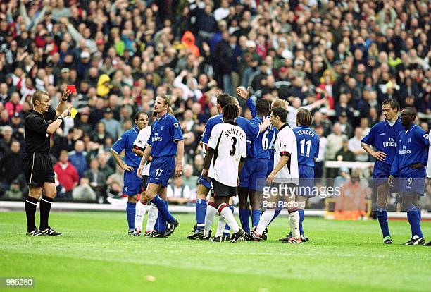 Slavisa Jokanovic of Chelsea is sentoff during the FA Barclaycard Premiership match against Fulham played at Craven Cottage in London The match ended...