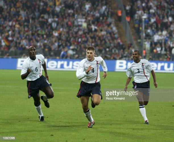 Sol Campbell Steven Gerrard and Ashley Cole of England celebrate Gerrard's goal during the FIFA World Cup 2002 Group Nine Qualifying match against...