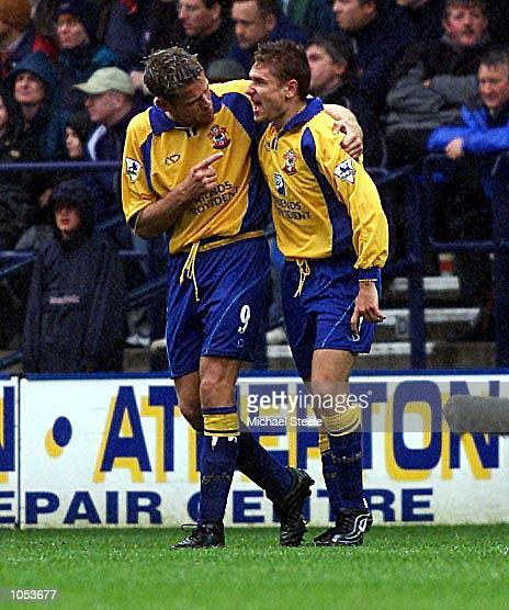 Southampton's Marian Pahars is congratulated by James Beattie in the FA Barclaycard Premiership game against Bolton Wanderers at the Reebok Stadium...
