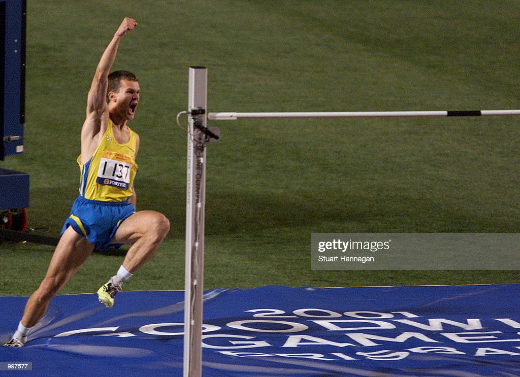 Stefan Holm of Sweden celebrates winning the Mens High Jump with a jump of 2.33 Metres during the athletics at the ANZ Stadium during the Goodwill Games in Brisbane, Australia. DIGITAL IMAGE Mandatory Credit: Stuart Hannagan/ALLSPORT