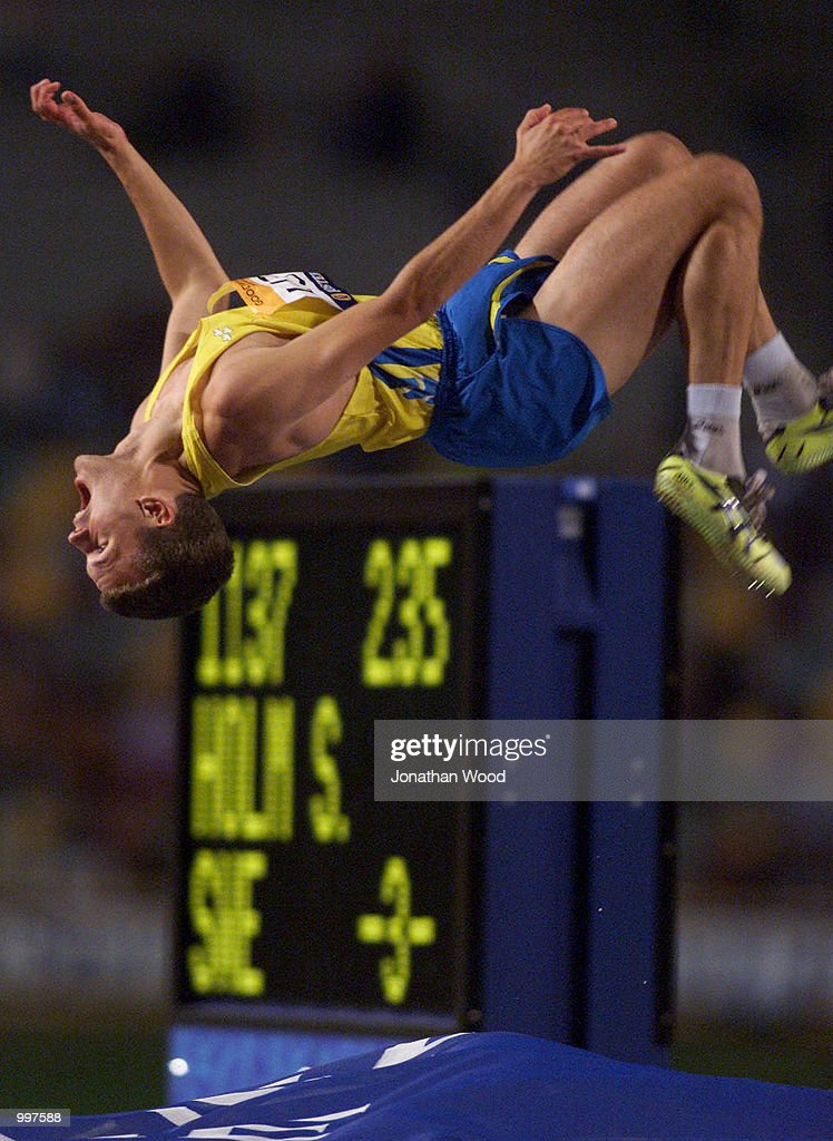 Stefan Holm of Sweden celebrates winning the Mens High Jump with a jump of 2.33 Metres during the athletics at the ANZ Stadium during the Goodwill Games in Brisbane, Australia. DIGITAL IMAGE Mandatory Credit: Jonathan Wood/ALLSPORT