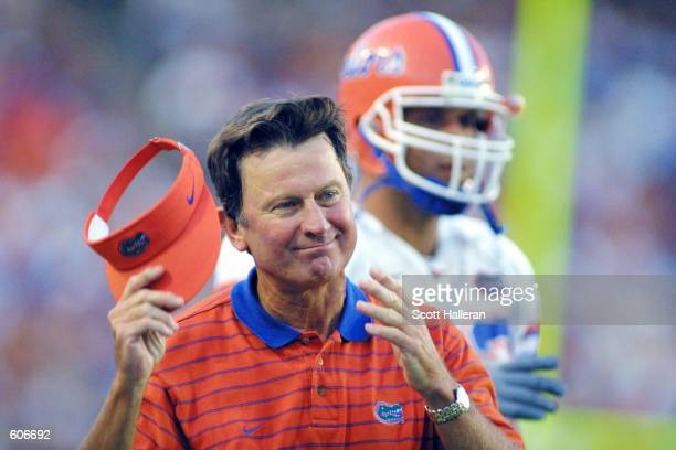 Steve Spurrier coach of the Florida Gators watches the action against the LaMonroe Indians at Florida Field in Gainesville Florida The Gators...