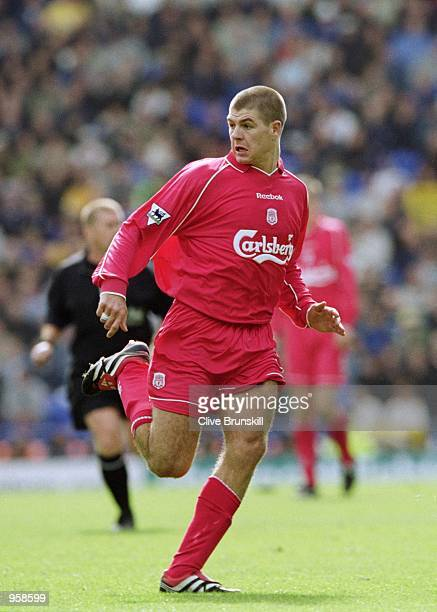 Steven Gerrard of Liverpool in action during the FA Barclaycard Premiership match against Everton played at Goodison Park in Liverpool England...