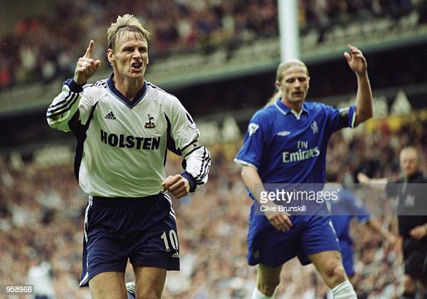 Teddy Sheringham of Tottenham Hotspur celebrates during the FA Barclaycard Premiership match against Chelsea played at White Hart Lane in London...