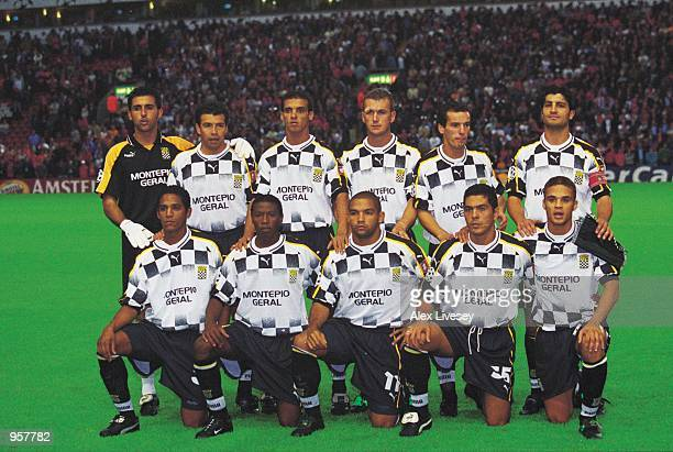 The Boavista team line up before the start of the UEFA Champions League match against Liverpool played at Anfield in Liverpool England Mandatory...