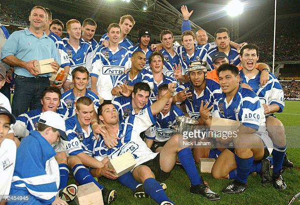 The Bulldogs celebrate victory after the Jersey Flegg Grand Final between the Bulldogs and Sharks held at Stadium Australia Sydney Australia DIGITAL...