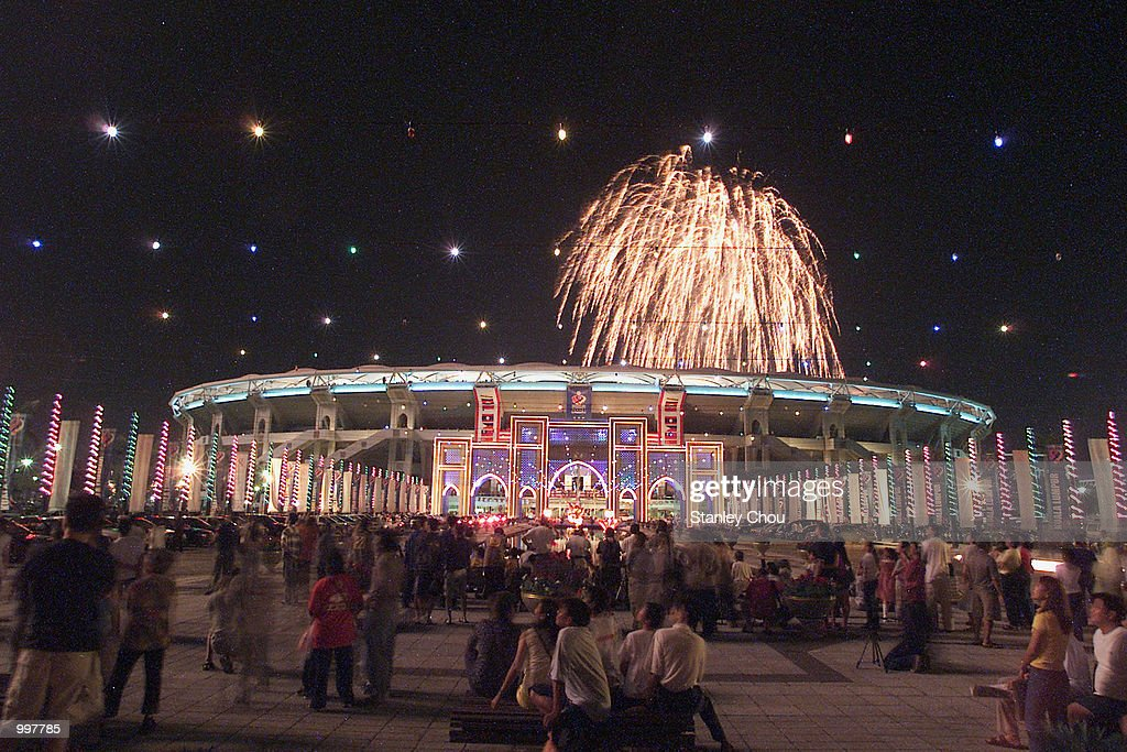 The Fireworks display during the Opening Ceremony held at the Bukit Jalil National Stadium, Kuala Lumpur, Malaysia during the 21st South East Asian Games. DIGITAL IMAGE. Mandatory Credit: Stanley Chou/ALLSPORT