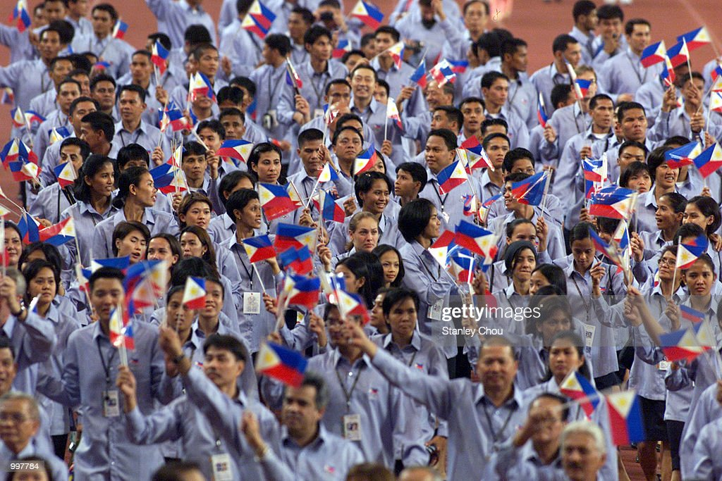 The Philippine Contigent marching in during the Opening Ceremony held at the Bukit Jalil National Stadium, Kuala Lumpur, Malaysia during the 21st South East Asian Games. DIGITAL IMAGE. Mandatory Credit: Stanley Chou/ALLSPORT