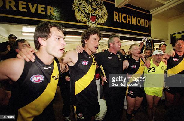 The Richmond team celebrate after their win over Carlton after the AFL Semi Final match played between the Richmond Tigers and the Carlton Blues held...