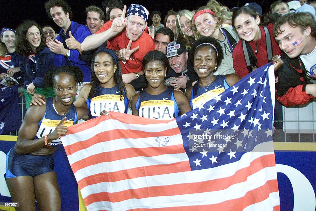 The USA Womens 4 x 100 Metres Relay team celebrate victory during the athletics at the ANZ Stadium during the Goodwill Games in Brisbane, Australia. DIGITAL IMAGE Mandatory Credit: Stuart Hannagan/ALLSPORT