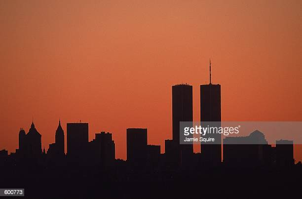 The view of the New York skyline with the World Trade Center at sunset taken from the US Open at the UATA National Tennis Center in Flushing New...
