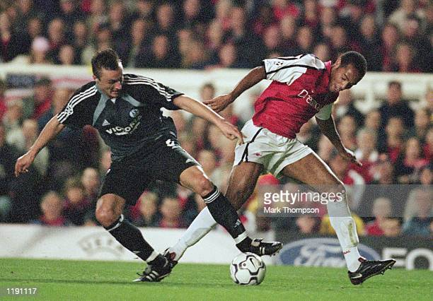 Thierry Henry of Arsenal in action during the UEFA Champions League match between Arsenal and Schalke 04 played at Highbury in London Arsenal won the...