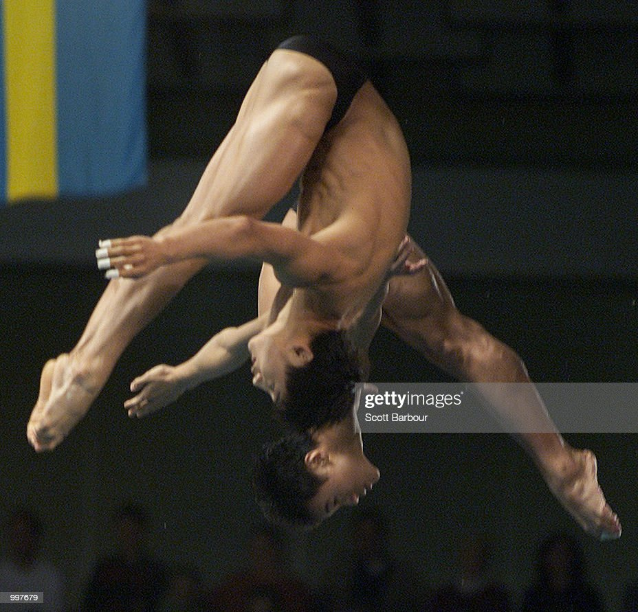 Tian Liang and Hu Jia of China in action whilst winning gold in the Mens Platform Synchro held at the Chandler Aquatic Centre at the Goodwill Games in Brisbane, Australia. DIGITAL IMAGE. Mandatory Credit: Scott Barbour/ALLSPORT