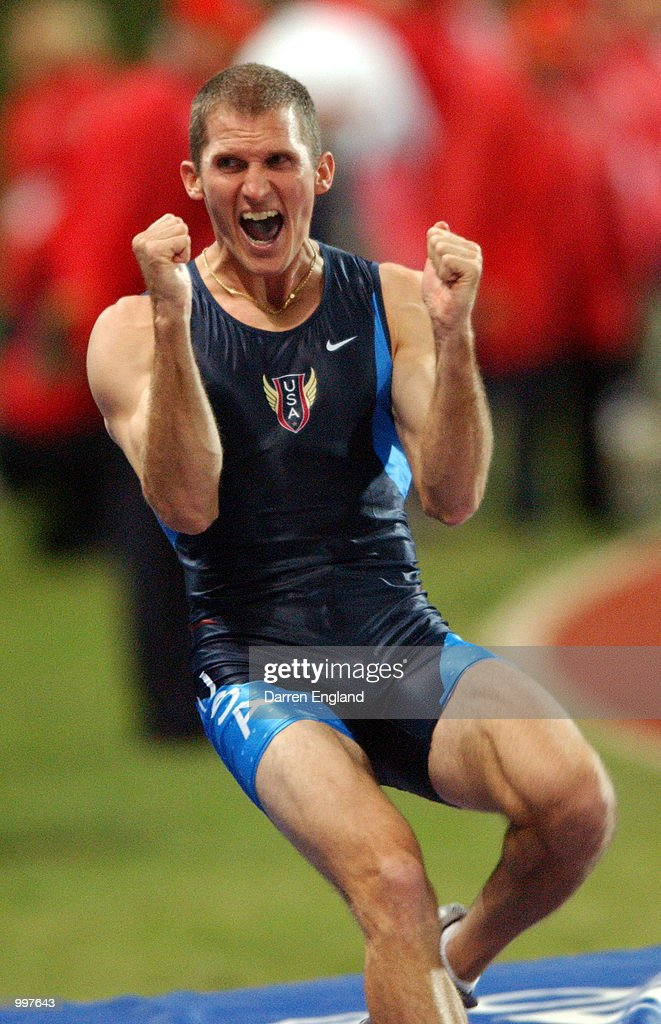 Tim Mack of the United States celebrates winning the men's Pole Vault at ANZ Stadium during the Goodwill Games in Brisbane, Australia. DIGITAL IMAGE. Mandatory Credit: Darren England/ALLSPORT