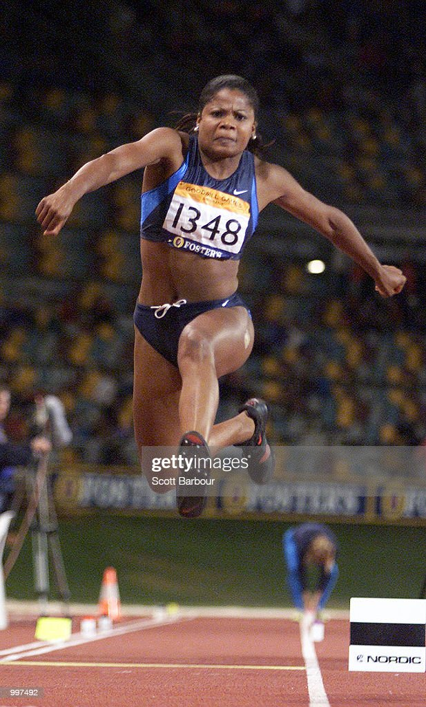 Tiombe Hurd of the USA in action during the Womens Triple Jump during the athletics at the ANZ Stadium during the Goodwill Games in Brisbane, Australia. DIGITAL IMAGE Mandatory Credit: Scott Barbour/ALLSPORT