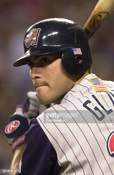 Troy Glaus of the Anaheim Angels wears american flags on his uniform during the game against the Seattle Mariners at Safeco Field in Seattle...