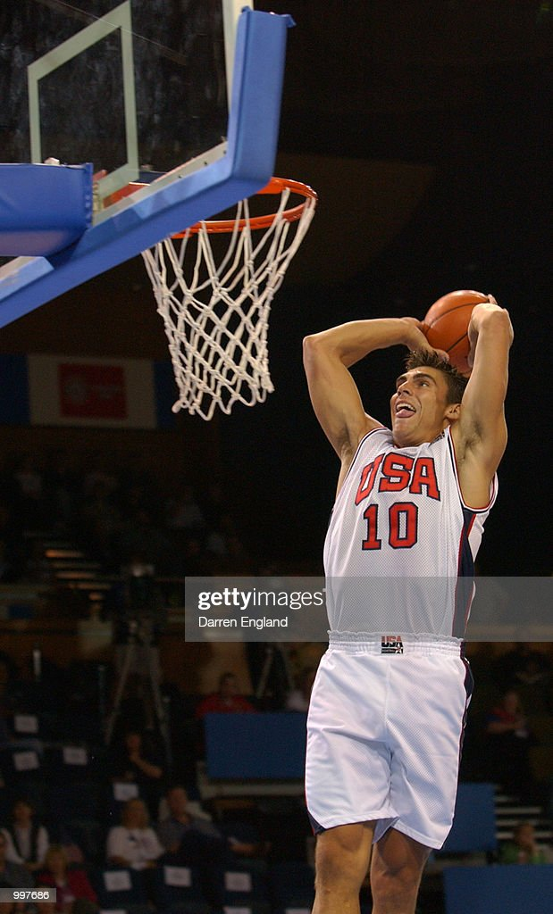 Wally Szczerbiak #10 of the USA slam dunks during the Basketball semi-final between the United States and Brazil played at the Brisbane Entertainment and Convention Centre during the Goodwill Games in Brisbane, Australia. DIGITAL IMAGE. Mandatory Credit: Darren England/ALLSPORT