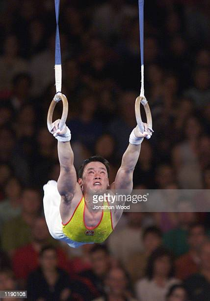 Xu Huang of China in action during the men's all round gymnastics event held at the Brisbane Convention and Exhibition Centre Brisbane Australia...