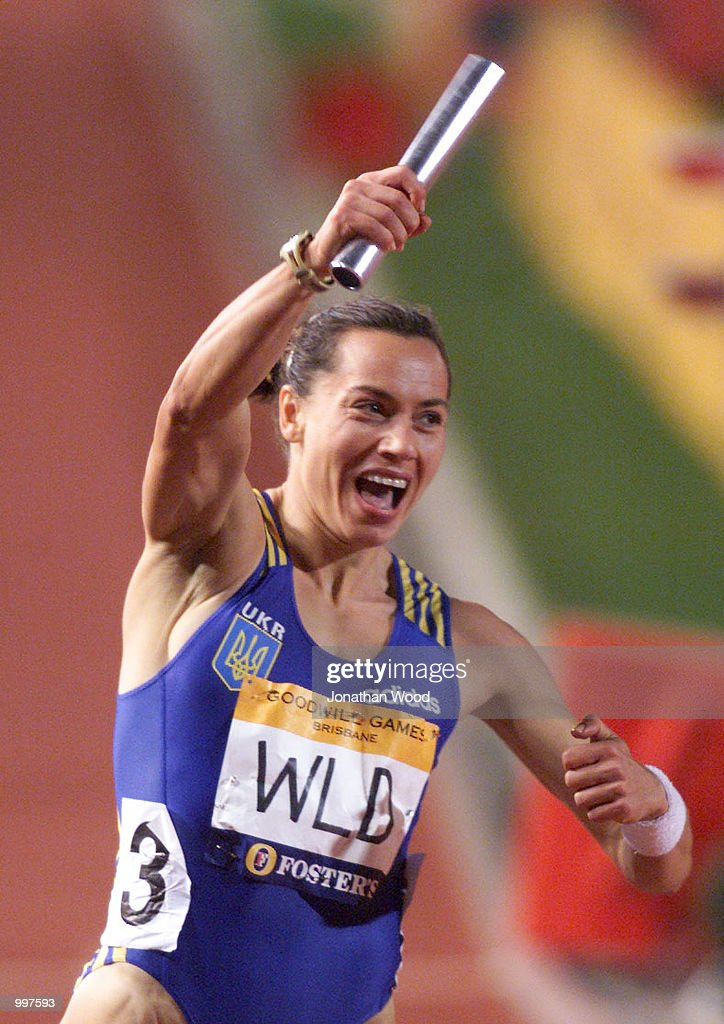 Zhanna Pintusevich-Block of the World All Stars celebrates winning the Womens 4 x 100 Metres Relay during the athletics at the ANZ Stadium during the Goodwill Games in Brisbane, Australia. DIGITAL IMAGE Mandatory Credit: Jonathan Wood/ALLSPORT