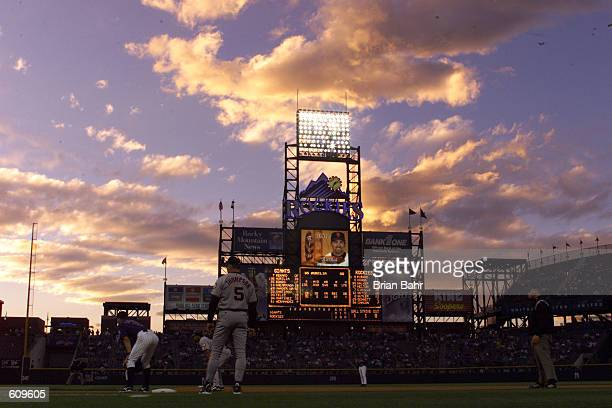General view of the ambiance on the field at sunset during the game between the San Francisco Giants and the Colorado Rockies at Coors Field in...