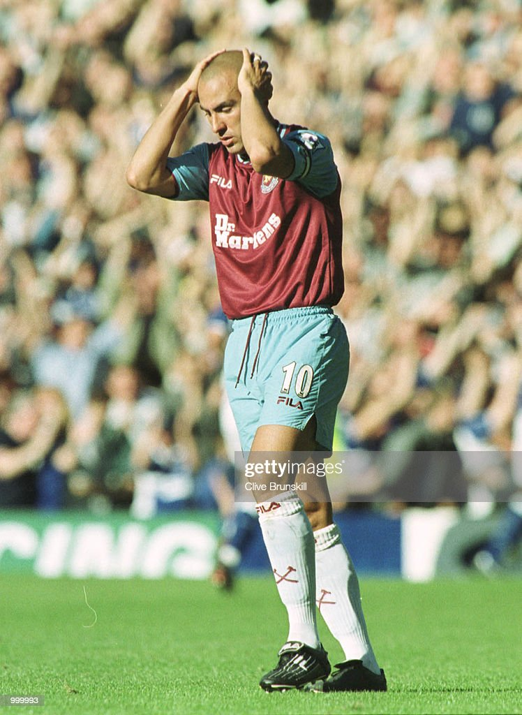 Palo Di Canio of West Ham with hand on his head during the match between Everton and West Ham United in the FA Barclaycard Premiership at Goodison Park, Liverpool. Mandatory Credit: Clive Brunskill/ALLSPORT