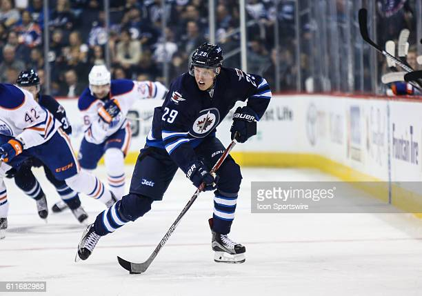 Jets Patrik Laine skates with the puck during the Winnipeg Jets vs Edmonton Oilers game at the MTS Centre in Winnipeg MB