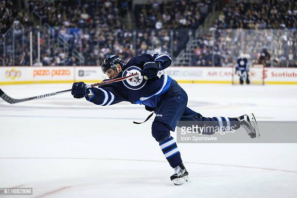 Jets Patrik Laine takes a shot during the Winnipeg Jets vs Edmonton Oilers game at the MTS Centre in Winnipeg MB