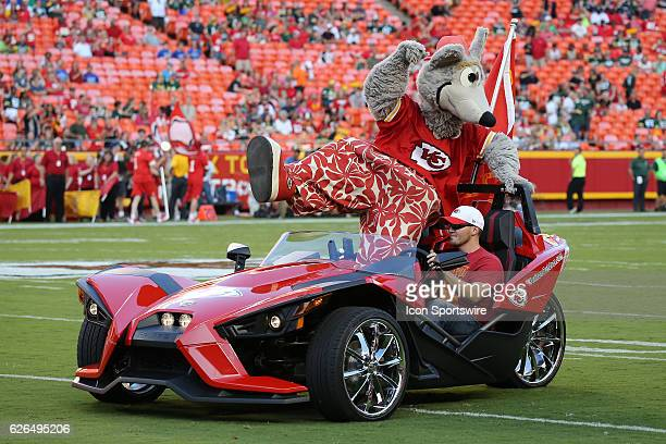 KC Wolf arrives in style before a preseason NFL game between the Green Bay Packers and Kansas City Chiefs at Arrowhead Stadium in Kansas City MO