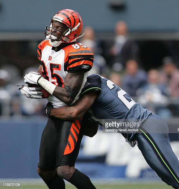 Sep 23 2007 Seattle WA USA The Cincinnati Bengals CHAD JOHNSON is tackled by JORDAN BABINEAUX the Seattle Seahawks at Qwest Field The Seahawks won...