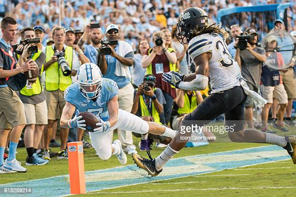 North Carolina Tar Heels wide receiver Austin Proehl dives for the touchdown ball was pulled back as he was deemed out of bounce at the 3 yardline...