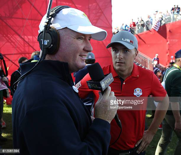 Chaska MN USA Jordan Spieth does an interview after winning his match on the 16th hole during the Day 1 morning matches for the 2016 Ryder Cup at...