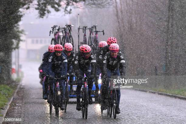 Sep Vanmarcke of Belgium and Team EF Education First / Jonas Rutsch of Germany and Team EF Education First / Kristoffer Halvorsen of Norway and Team...