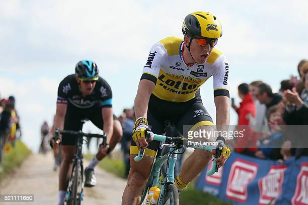 Sep Vanmarcke of Belgium and Team Lotto NL-Jumbo in action during the 2016 Paris- Roubaix from Compiegne to Roubaix on April 10, 2016 in Paris,...