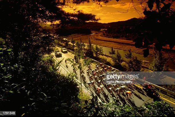 General view of the field during the Womens 82 kilometres Road Race event at the 1988 Olympic Games in Seoul South Korea Mandatory Credit Billy...