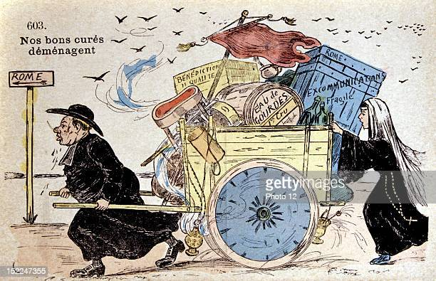 Separation of Church and State Satirical postcard 'Our good parish priests moving' France Private collection
