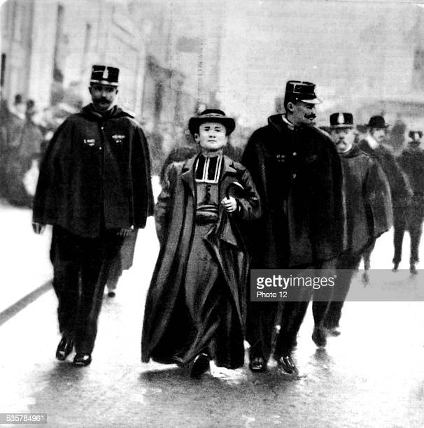 Stocktaking of the Church goods Priest being arrested in front of the church SaintPierreduGrosCaillou in Paris December 1906 France