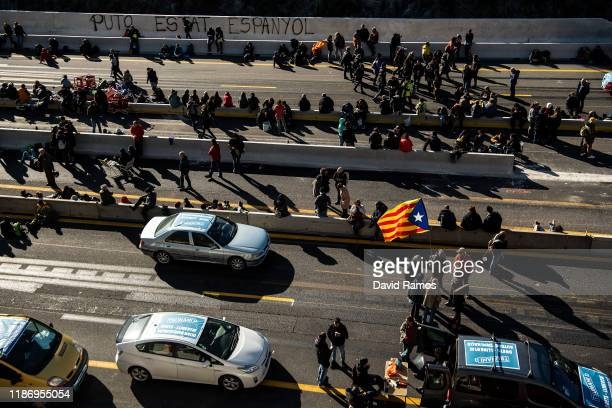 Separatist Catalonian protesters block the border between France and Spain on November 11, 2019 in La Jonqueera, Spain. The secretive group Tsunami...