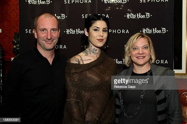 Sephora COO Alessandro Bogliolo television personality Kat Von D and Sephora SVP Christie Jack at Sephora VIB Holiday Cocktail Party Hosted By Kat...